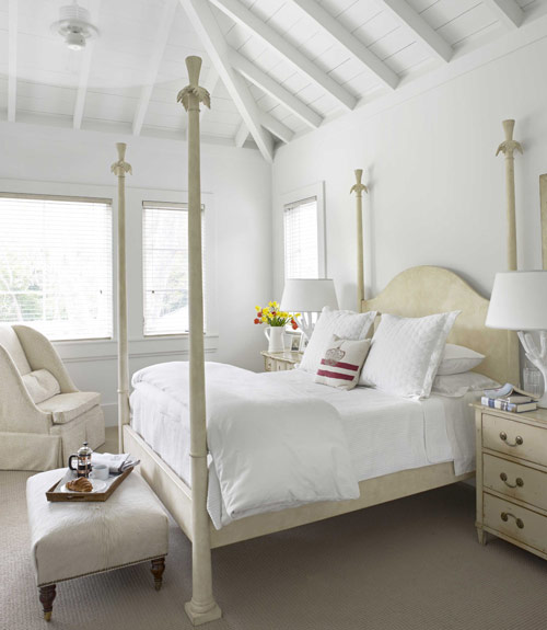 Cream and white color bedroom; bed; chair | Interior Designer Myra Hoefer