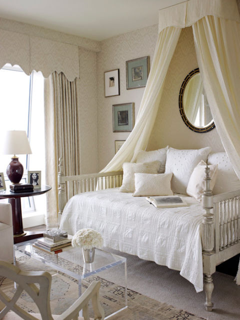 Cream & white bedroom; bed; mirror; table; lamp | Interior Designer: Phoebe Howard