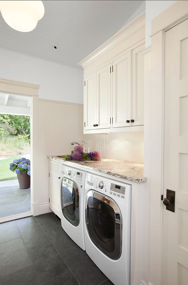 laundry room color; pair cream & white; washing machine | Designer: Jodi Foster