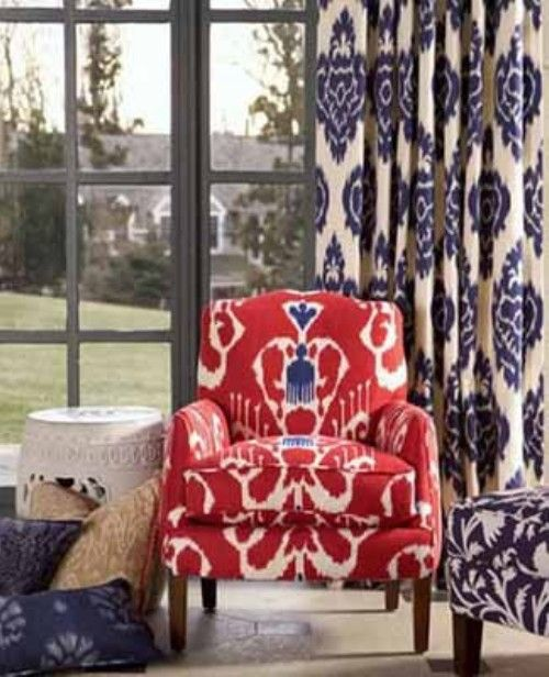 Chair; ikat pattern | Image source: Calico Corners