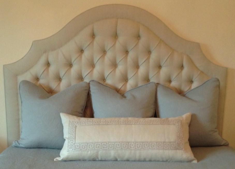 Bedroom; custom bedding,headboard; pillow| Interior Designer: Carla Aston