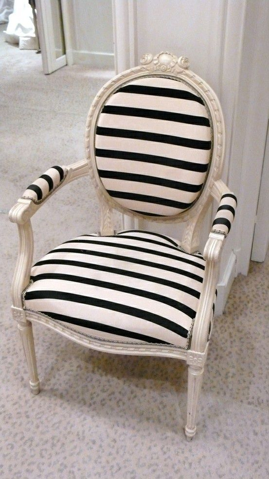 chair; stripe pattern| Image source: Home Edit
