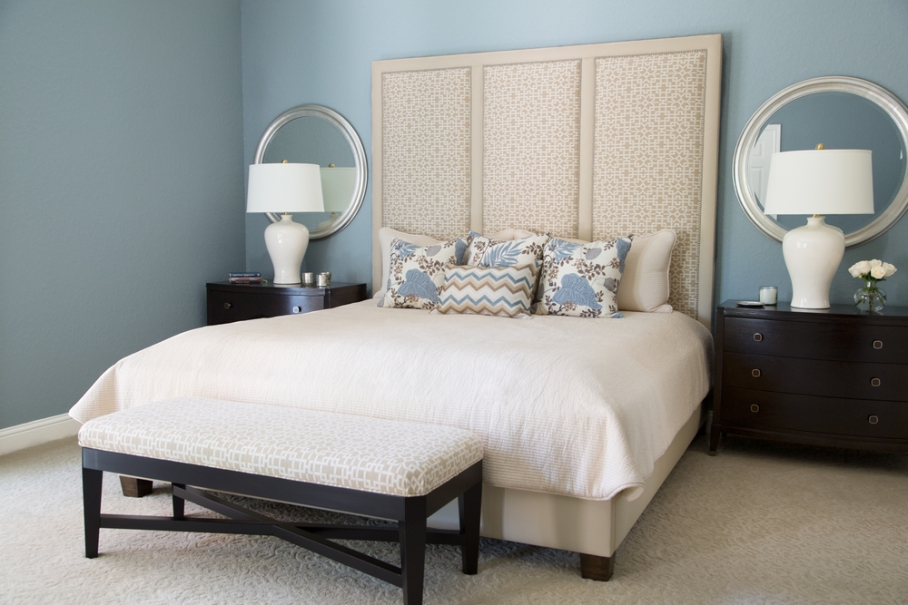 Bedroom and custom bedding designed by Carla Aston