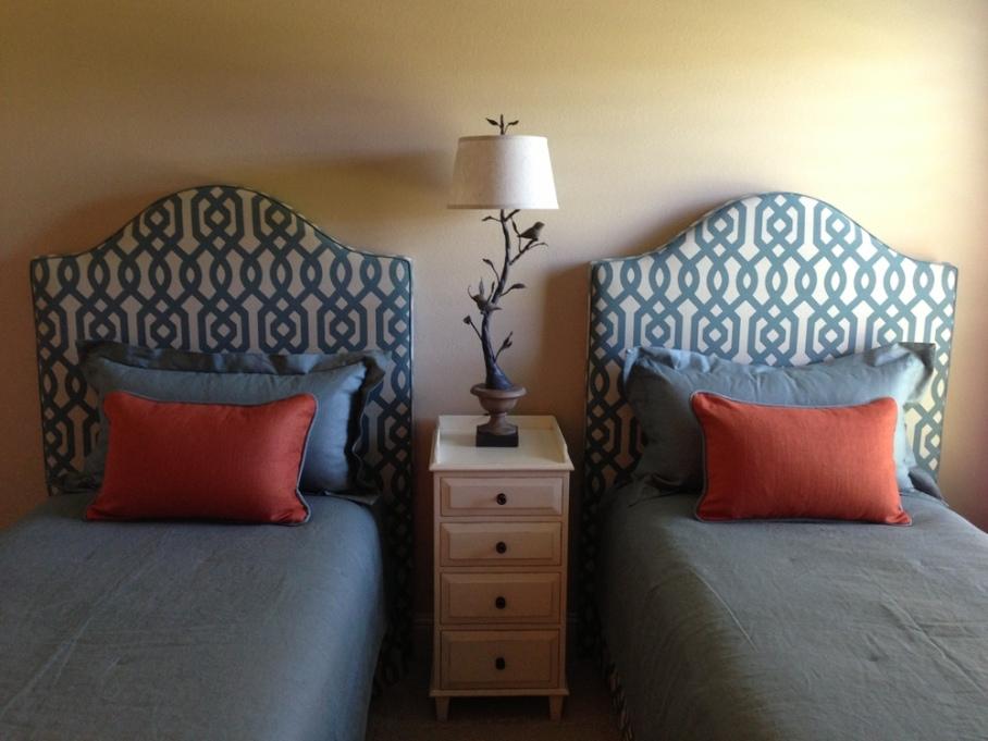 Bedroom; twin bed; custom bedding,headboard; pillow; lamp | Interior Designer: Carla Aston