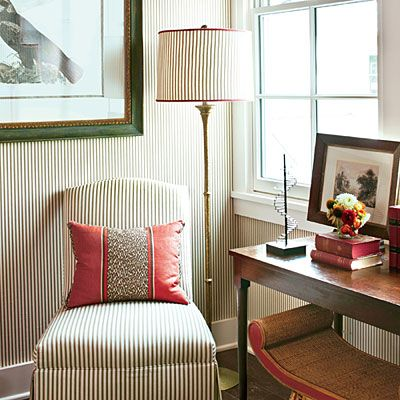 stripe pattern; chair; lamp; decorative pillow| Image source: Southern Living