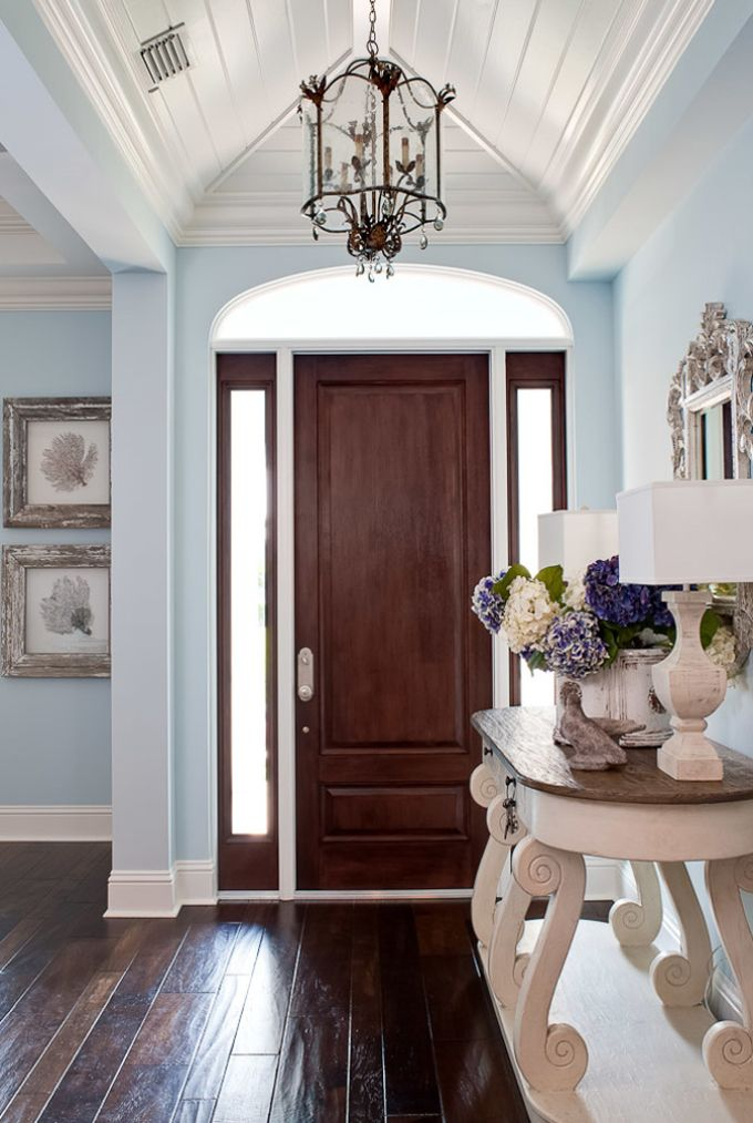 Wood floor / flooring; vista; entryway; lighting | Home Builder: RTG Construction / Image source: House of Turquoise