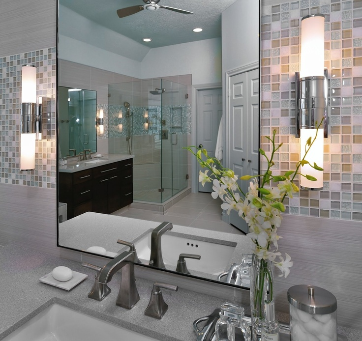 Bathroom sconce, sink, mirror, backsplash, lighting, decor, design | Interior Designer: Carla Aston