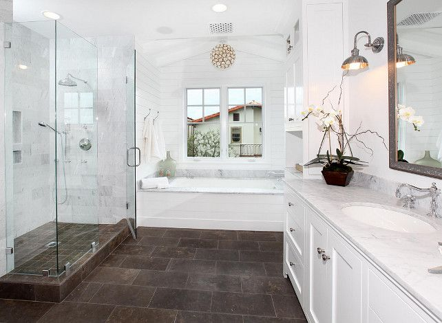 bathroom; tile flooring; bath; shower; sink; mirror | Image source: homebrunch.com