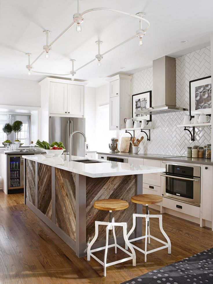 Kitchen; stove; counter; herringbone pattern backsplash; island; barstool; sink| Interior Designer: Sarah Richardson / Image source: HGTV