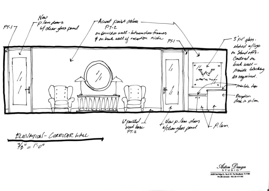 Design plan / sketch for a feminine office remodel | Interior Designer: Carla Aston