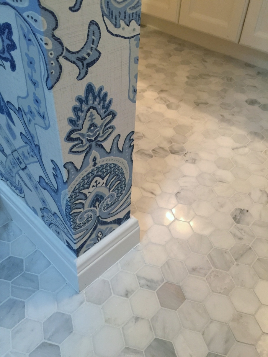 Marble mosaic tile; upstairs bathroom