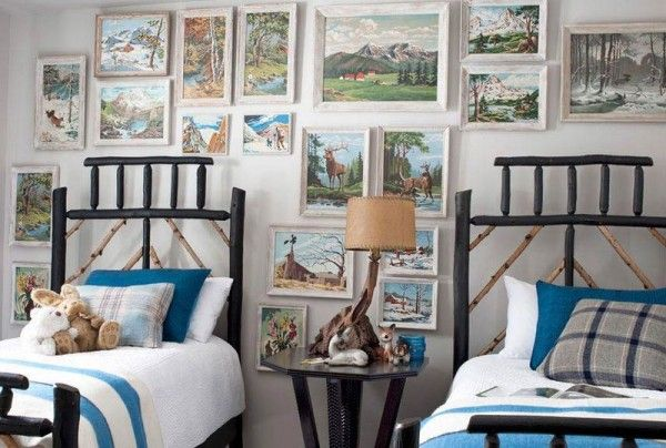 Vintage paint by numbers art; bedroom; bed | Image source: Country Living