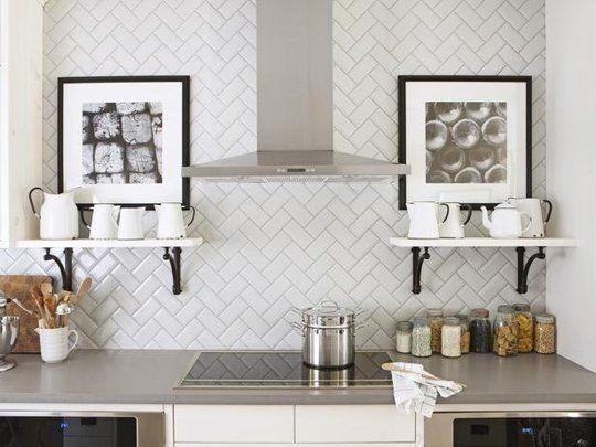 Kitchen; stove; counter; herringbone pattern backsplash; shelving | Interior Designer: Sarah Richardson / Image source: HGTV