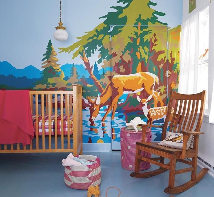 Vintage paint by numbers art; nursery; crib | Interior Designer: Teresea Surratt / Image source: Land of Nod