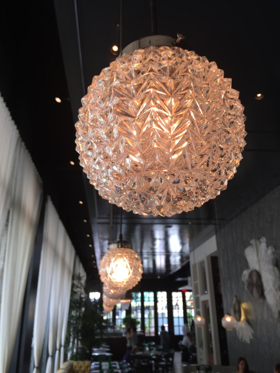 "Pendant lighting @ Los Angeles' ""Faith & Flower"" restaurant, designed by Avroko."
