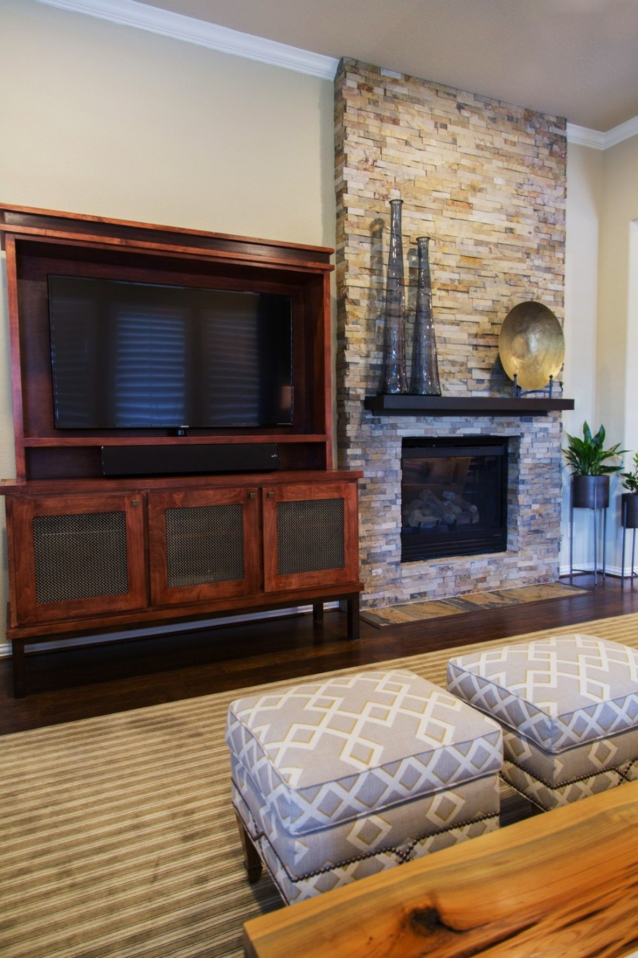 Fireplace room remodel; tv; entertainment center; rug; decor;| Interior Designer: Carla Aston / Photography by Tori Aston