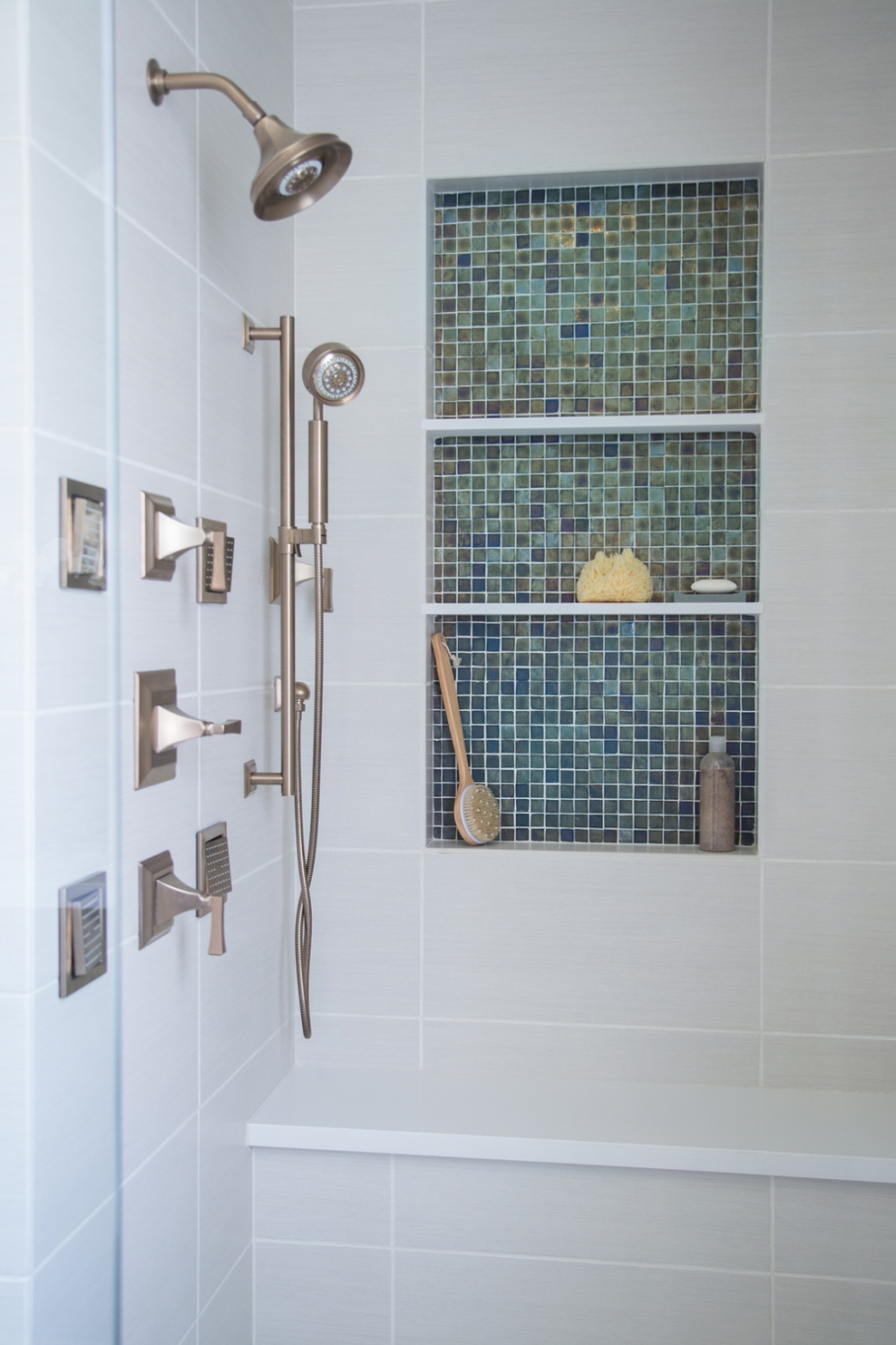 Bathroom remodel; shower; tile; fixture | Interior designer: Carla Aston / Photographer: Tori Aston