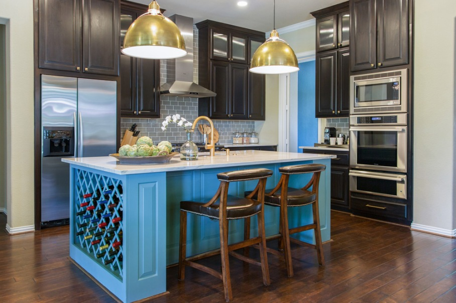 Kitchen remodel; island; refrigerator; oven; chair; lighting; stove; cabinetry; countertop | Interior Designer: Carla Aston / Photography by Tori Aston