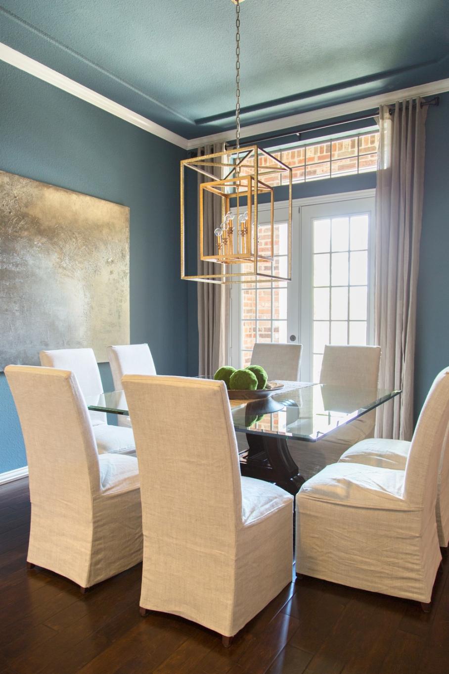 Dining room remodel; table;art; gilded lantern; decor | Interior Designer: Carla Aston / Photographer: Tori Aston