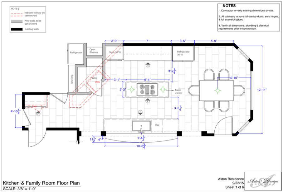 Kitchen and Family Room Floor Plan | Interior Designer: Carla Aston