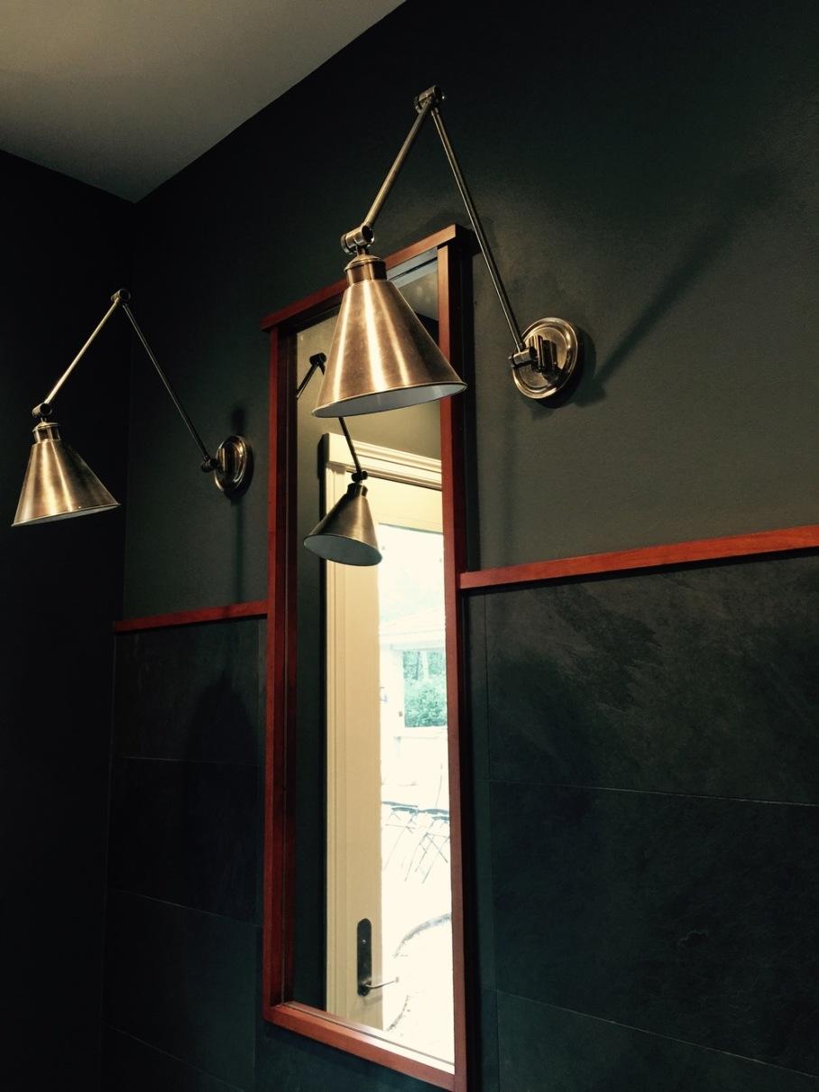 Traditional door moulding in contemporary bathroom